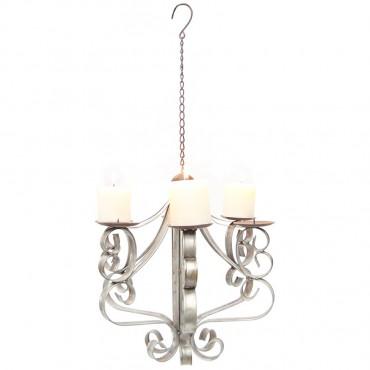 Country Elaborate Candelabra Lantern Tealight Lamp Galvanised Brown 38x69cm