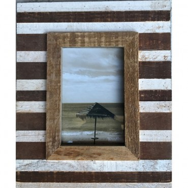5 Opening W Glass Photo Frame Picture Wall Art Hanger Natural 110X38Cm