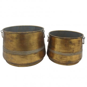 Set Of 2 Nested Lustre Pot Planter Garden Pot Flower Plant Holder 40x28cm