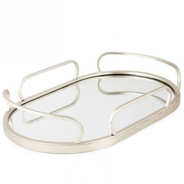 ART DECO OVAL MIRROR TRAY