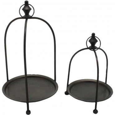Set Of 2 Nested Display Stand Cake Muffin Cupcake Wedding Metal Black 26x43cm
