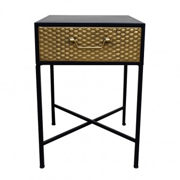 Side Table W/ Drawer Lamp Nightstand Metal Gold 41x60cm