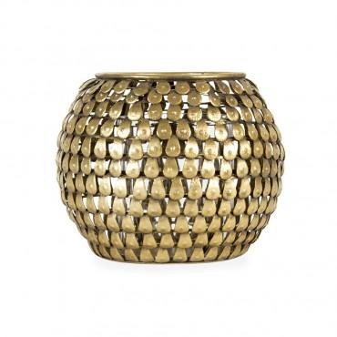 Aura Teardrop Candle Holder Lantern Tealight Lamp Metal Glass Gold 13x10cm