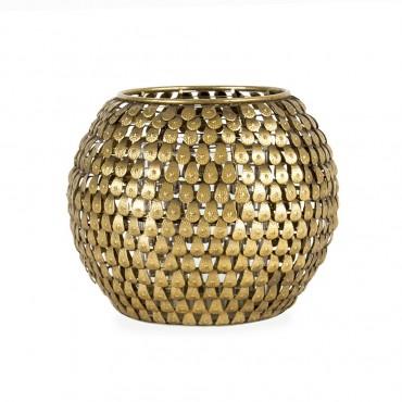 Aura Teardrop Candle Holder Lantern Tealight Lamp Metal Glass Gold 16x13cm