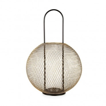 Luxe Orb Lantern Candle Holder Tealight Lamp Metal Glass Gold Black 29x43cm