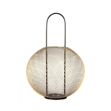 Luxe Orb Lantern Candle Holder Tealight Lamp Metal Glass Gold Black 35x50cm