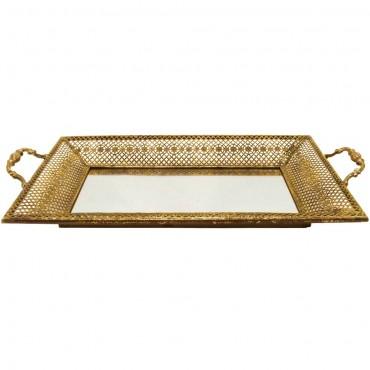 Lustre Hive Mirror Tray Fruit Platter Serving Holder Metal Glass Gold 52x7cm