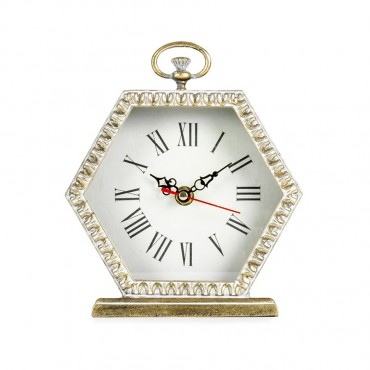 Lustre Hexagon Table Clock Hanging Art Decor Glass Front Antique Gold 16x19cm