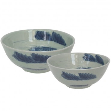Set Of 2 Cumulus Bowl Decorative Food Platter Holder Ceramic White Blue 41x19cm