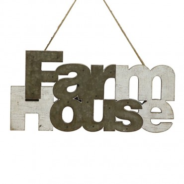 Shabby Farmhouse Wall Hanging Hanging Screen Sign Metal 60x29cm