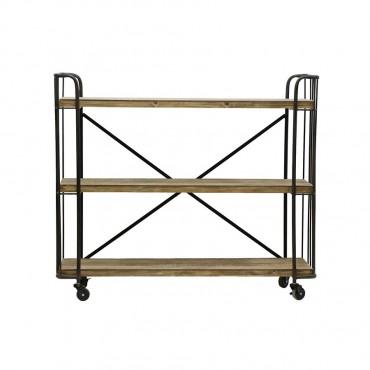 Large Chic Industrial 3 Shelf Trolley Rack Stand Bookshelf Firwood Black 99x84cm