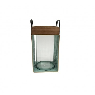 Tierra Green Table Lantern Candle Holder Tealight Lamp Metal Timber 17x30cm