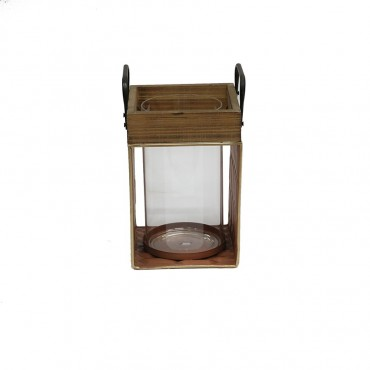 Tierra Coral Table Lantern Candle Holder Tealight Lamp Metal Timber 16x25.5cm