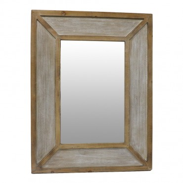 Sorrento Rectangle Wall Mirror Hanging Art Metal Firwood Natural 80x105cm