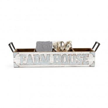 4 Division Farmhouse Tray Holder Fruit Platter Serving Holder Metal White 60x15cm