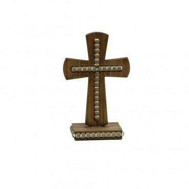 Wood Studded Cross On Base Wall Art Hanging Decor Sign 18x28cm