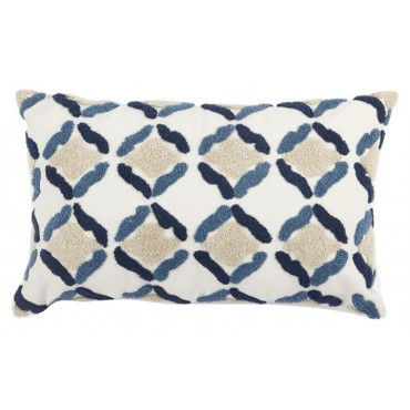 Trellis Cushion Decorative Pillow Cotton White Blue Beige 35x14cm