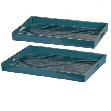 Set Of 2 Serving Tray Fruit Platter Serving Holder Breakfast Blue Marbled 48x5cm