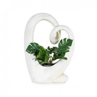 Swan-Heart Planter Garden Pot Flower Plant Holder Distressed White 36x49cm