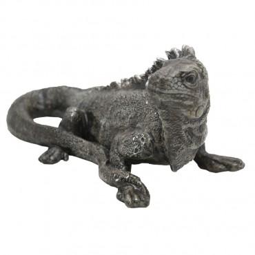 Australian Water Dragon Garden Sculpture Figurine Ornament Silver 32x15cm