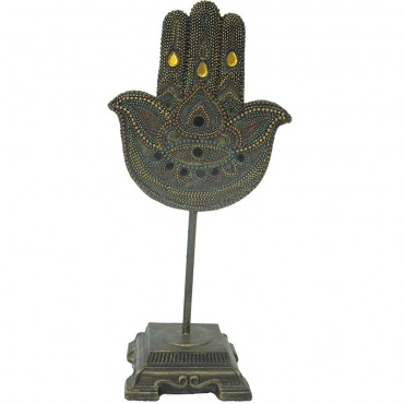 Lucky Hand On Base Ornament Figurine Poly Resin Brown 17x36cm