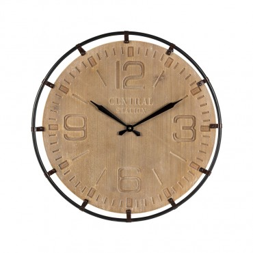 Central Station Wall Clock Hanging Art Decor Metal MDF Natural Black 65x65cm