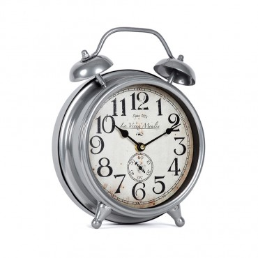 Art Deco Moulin Table Clock Hanging Art Decor Metal Silver 23x29cm
