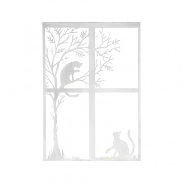 Cats Playing Through Window Hanging Screen Sign Metal Rust White 56x78cm