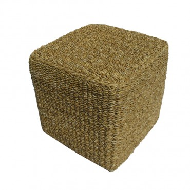 Cube Stool Side Table Sea Grass Seat Outdoor Garden Setting 40cm