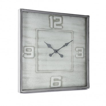 Large Square Wall Clock W/ Glass Hanging Art Decor Metal Crackle Grey 70x70cm