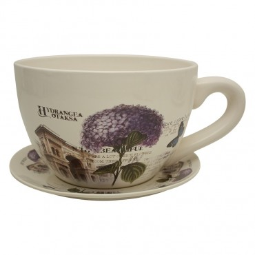 Tea Cup Saucer Hydrangea Planter Pot Flower Holder Garden Dolomite 0 34x16cm