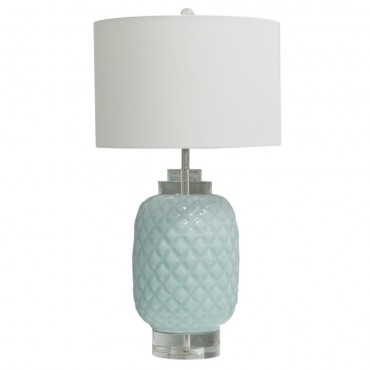 Island Turquoise Table Lamp Bedside Reading Light Chrome Light Blue 38x71cm