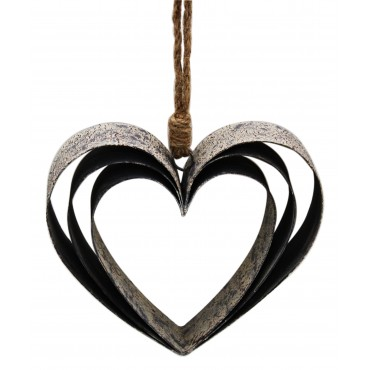 Triple Hollow Heart Hanger Hanging Screen Sign Metal Black 15x26cm