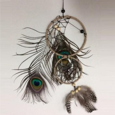 Double Dreamcatcher W/ Peacock Hanger Lace Tassel Decor Brown 11x1cm