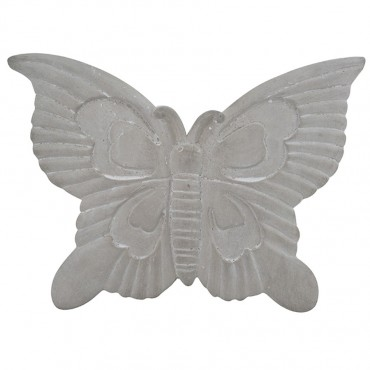 Butterfly Wall Hanging Hanging Screen Sign Cement Grey 38x3cm