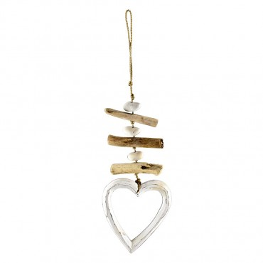 Triple Hollow Heart W/ Driftwood Hanger Chime Timber Natural 13x26cm