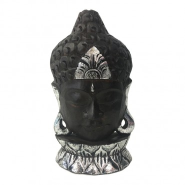 Hand Carved Buddha Head Bust Garden Statue Ornament Resin Wood Black 18x30cm