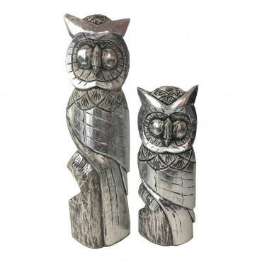 Set Of 2 Owl Garden Animal Ornament Resin Wood Silver 17x60cm