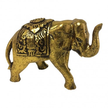 Antique Elephant Mum Ornament Figurine Metal Gold 18x14cm