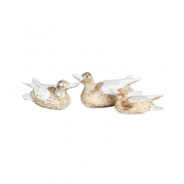 Set 3 Hand Carved Duck Family Ornament Figurine Statue Sculpture Wood Natural/Whitewash 30x12cm