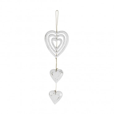 Triple Eternity Heart Hanging Hanger Chime Wood Whitewash 15x60cm