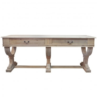 Large Curtis 2 Drawer Console Hallway Hall Unit Reclaimed Pine White 214x82cm