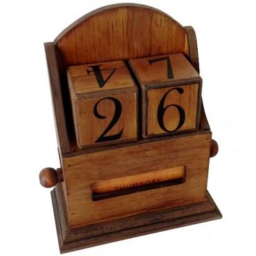 Vintage Perpetual Desk Calendar Desk Block Planner Organizer MDF Brown 20x24cm