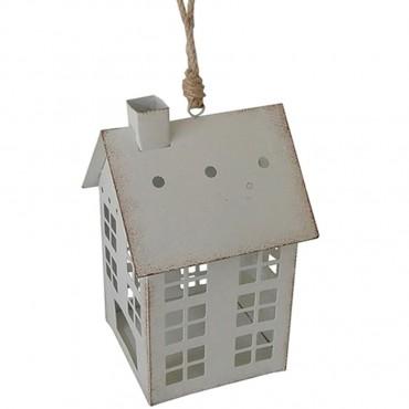 House Tealight Holder Hanging Lantern Tealight Lamp Metal White  12x35cm