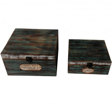 Set Of 2 Nested Farmers Box Storage Container Holder Timber Blue 24x13cm