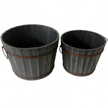 SET 2 GARDEN BARREL PLANTER