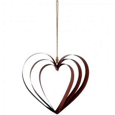 Large Triple Hollow Heart Hanger Hanging Screen Sign Metal Brown 45x42cm