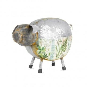 Natures Art' Pig Garden Sculpture Figurine Ornament Metal Galvanised/Rust/Multi 34x25cm