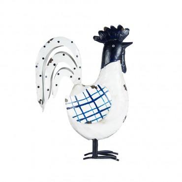 Glamorous Blue & White Rooster Garden Sculpture Figurine Ornament Metal White/Blue 28x42cm