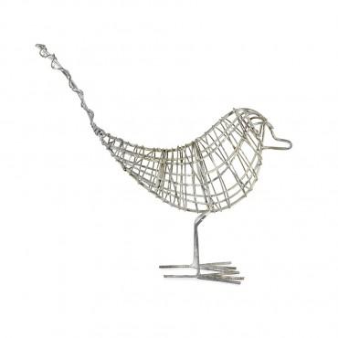 Handcrafted Wire Bird Garden Sculpture Figurine Ornament Metal Rustic Grey 35x28cm
